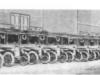 Санитарные машины (с запасными колесами без шин) готовы к отправке в действующую армию.