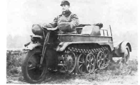 Легкий гусеничный мотоцикл NSU HK 101 с 1,5-литровым двигателем «Опель Олимпия'' 1940-1944 г.