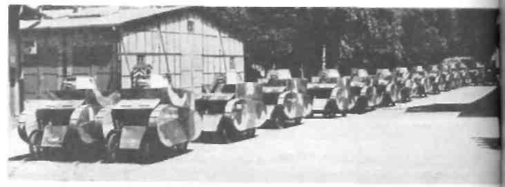 Колонна Макетов танков на велосипедных шасси (1925 год)