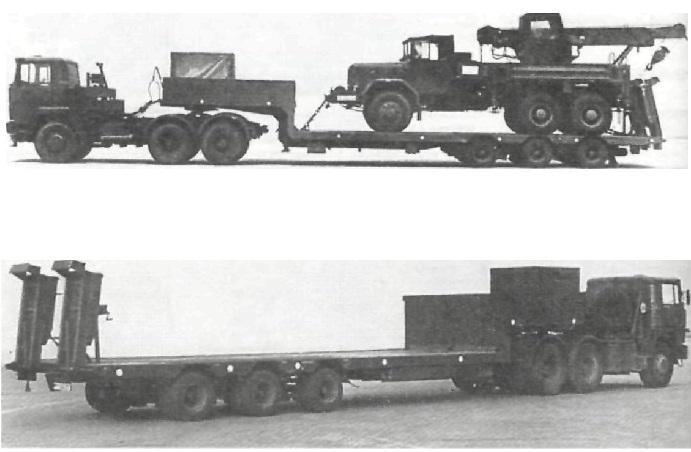 """Автопоезд в составе седельного тягача и низкорамного прицепа 25 т (6 х 4 + 6xО) """"Магирус-Дойц"""" 320 D 20 FC"""